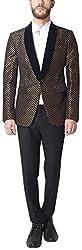 Design Factory Men's Slim Fit Blazer (TDF-BLZ-936_L, Black, L)
