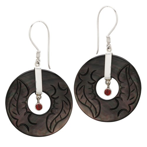 Sajen Sterling Silver Carved Black Mother-Of-Pearl and Garnet Earrings