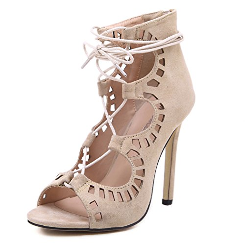 Autumn Melody Fashion Women Shoes Suede Hollow Open-toe Cross-strap High Heels Size 7.5 US (Rice Jhumpa Lahiri compare prices)