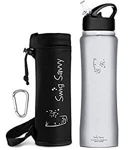 Swig Savvy's Stainless Steel Insulated Water Bottle, Wide Mouth 25 Oz Capacity, Double Wall Design, with Straw Cap -Including Water Bottle Pouch (Stainless Steel)