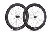 6ku Fixies Super Deep-v Wheels with Kenda Tires (700c X 25c) (Black) By Sgvbicycles