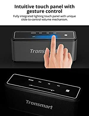 Portable Bluetooth Speakers, Tronsmart 40W Bluetooth 4.2 Wireless Speakers with 15-Hour Playtime, TWS, Dual-Driver Portable Wireless Speaker with Built-in Mic, NFC, Deep Bass, LED Backlight (Color: black)
