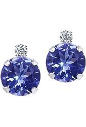 1.87 Ct Round Blue Tanzanite and White Diamond 14K White Gold Earrings