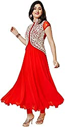 Shayona Women Brocade & Georgette Dress material (pankhudi-red_Red_Red_Free Size)