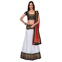 Suchi Fashion White & Red Heavy Embroidery Net Semi Stitched Lehenga Choli