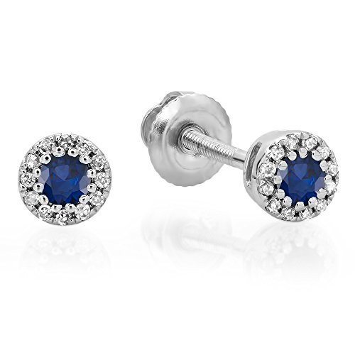 10K-Gold-Round-Ladies-Cluster-Halo-Style-Stud-Earrings