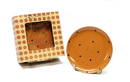 Harbottle House Classic Coffee And Tea Polka Dot Dessert Salad Sandwich Plate Set Of 6 - Mocha Brown