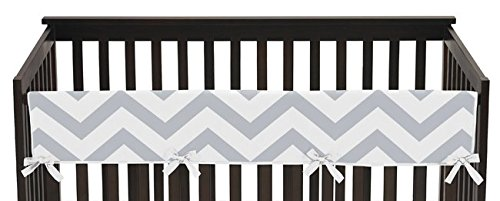 Gray-and-White-Chevron-Zig-Zag-Long-Front-Rail-Guard-Baby-Boy-or-Girl-Teething-Cover-Protector-Unisex-Crib-Wrap