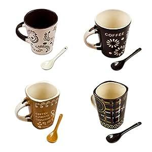 Amazon Com Ceramic Microwave Safe Coffee Mugs Set With