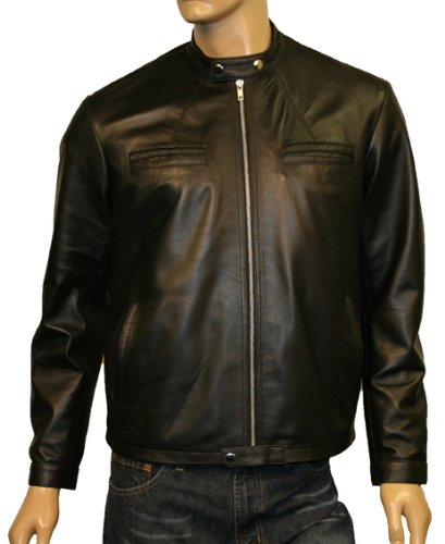 Mens Urban Black Leather Steampunk Style Biker Jacket Genuine Hide Vintage Fashion Coat Size - 2XL / 46