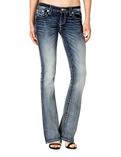 Miss Me Women`s Floral Fleur-De-Lis Pocket Bootcut Jeans Extended Sizes Blue 31