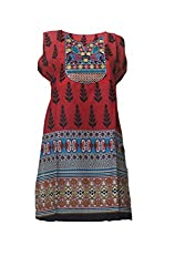 Tulip Collections Women's Cotton Embroidered Kurti (Large, Red)