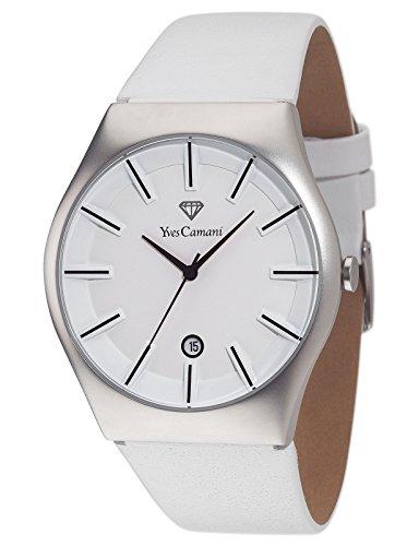 Yves Camani - YC1068-C - Loann - Montre Homme - Quartz Analogique - Cadran Blanc - Bracelet Cuir Blanc