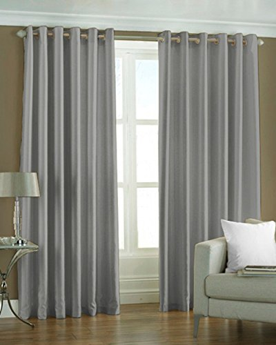 Pindia 7ft Grey Set Of 4 Pc Combo Faux Silk Polyester Plain Eyelet Door Curtains