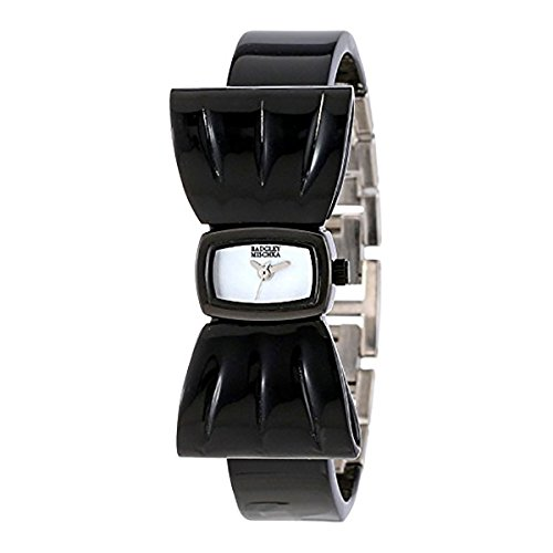 badgley-mischka-womens-ba1179mpbk-silver-tone-black-plastic-bow-shaped-bangle-bracelet-watch