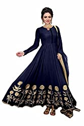 Yeoja Creation Georgette Embroidered Dresses(YJK02_White_Blue_Black) (Navy Blue)