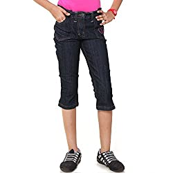 Menthol Girls Denim Lycra Jeans (9-10 Years, Dark Denim)