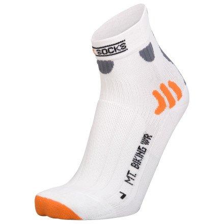 X-Socks Men's MTN. Biking Water Repellent Sock,White,Medium