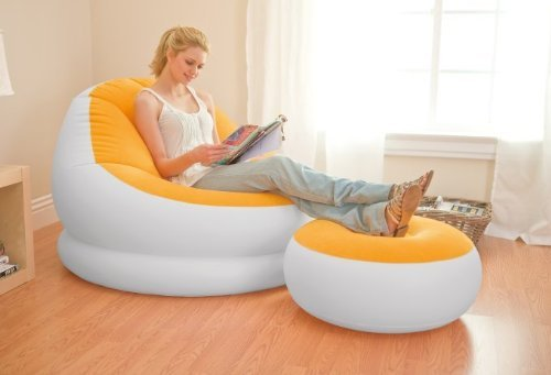 INTEX Inflatable Colorful Cafe Chaise Lounge Chair w/ Ottoman - Orange | 68572E - 1
