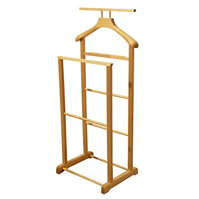 JEEVES - Solid Wood Double Clothes Valet Stand/ Hanging Rail - Oak
