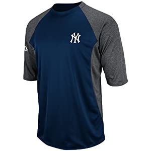 MLB New York Yankees 3/4 Sleeve Crew Neck Featherweight Tech Fleece Pullover, Navy/Grey, X-Large