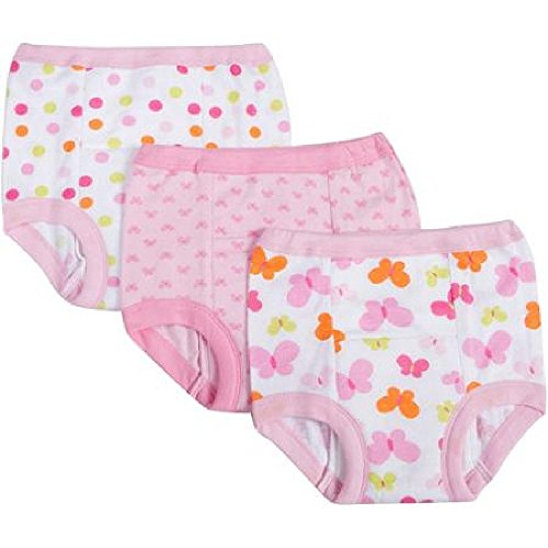 Gerber Baby Toddler Girl Cotton Training Pants, 2T, 3-Pack - 1