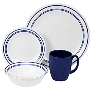 Corelle Livingware 16-Piece Dinnerware Set, Classic Cafe Blue, Service for 4