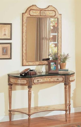 Cheap 2pc Entry Way Console Table & Mirror Set Ivory Finish (VF_Entway-AM8400-AM8401)