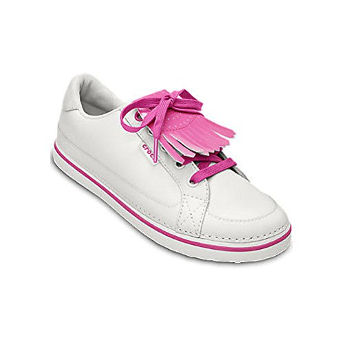 Crocs Women's Bradyn Golf Shoe,White/Fuchsia,8 M US