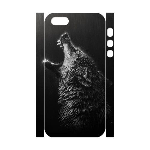 Howling Wolf Personalized 3D Cover Case for Iphone 5,5S,customized phone case ygtg-801502