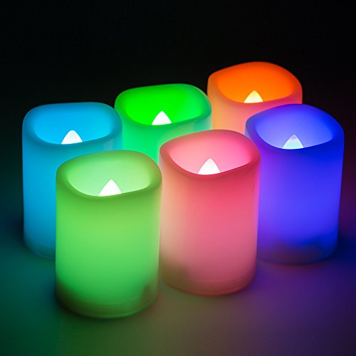 Kohree Set of 6 Flameless LED Color Changing Votive Candles with Remote and Timer, Battery-Included, Wavy Edge, Multiple Colors