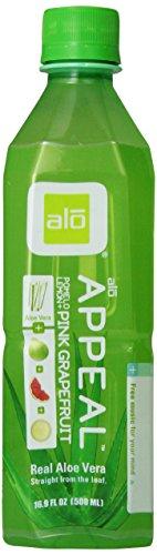 Alo Appeal Aloe Vera Beverage, Pomelo Grapefruit & Lemon, 16.9 Ounce (Pack Of 12)
