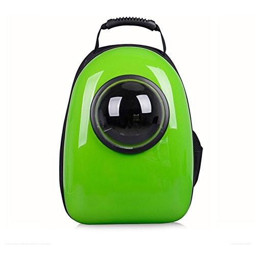 Astronaut Capsule Pet Backpack Transparent Breathable Dog Cat Carrier Travel Bag (Green)
