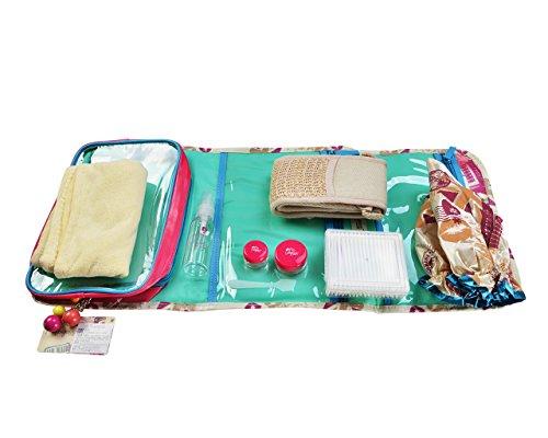 Miss Gorgeous-Trousse da viaggio, include Cuffia da doccia/Dry-Asciugamano per capelli, in cotone, colore: panna e bottiglia di Bud marina, confezione da 8