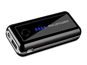 RAVPower Element 5600mAh External Battery Pack Portable Charger Power Bank for iPhone 5S, 5C, 5, 4S, 4, iPad Air, 4, 3, 2, Mini 2 (Apple adapters not included); Samsung Galaxy S4, S3, S2, Note 3, Note 2; HTC One, EVO, Thunderbolt, Incredible, Droid DNA, Motorola ATRIX, Droid, Moto X, Google Glass, Nexus 4, Nexus 5, Nexus 7, Nexus 10, LG Optimus, PS Vita, GoPro and More