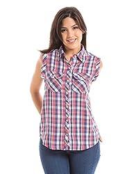 Prym Women's Body Blouse Shirt (1011518801_Pink Check_Large)