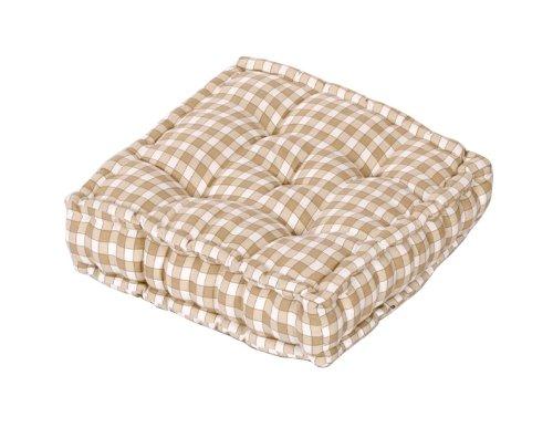 100% Cotton Large Booster Cushion Gingham Cream / Beige 40x40x10cms, Garden / Indoor Seat Pad