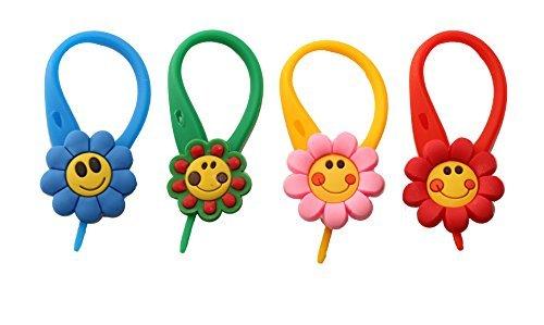 AVIRGO 4 pezzi Smiling Daisies Colorato Soft Zipper Pull Pendaglio di Zaino di Giacca Set # 51 -4