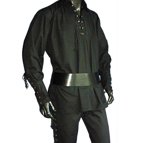 Medieval Pirate LARP Front Lacing Long Sleeves Shirt, Black - XL