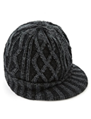 Peak Front Washed Look Cable Knit Beanie Hat
