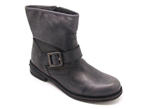 Felmini - Stivaletti donna pelle lavado nero, chiusura zip e con cinturino regolabile EU 39