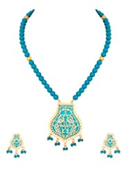 Voylla Traditional Thewa Necklace Set With Peacock Designing