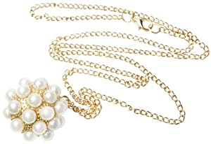 niceeshop(TM) Fashion Faux Pearl Studded Disco Balls Pendant Necklace-Gold And White