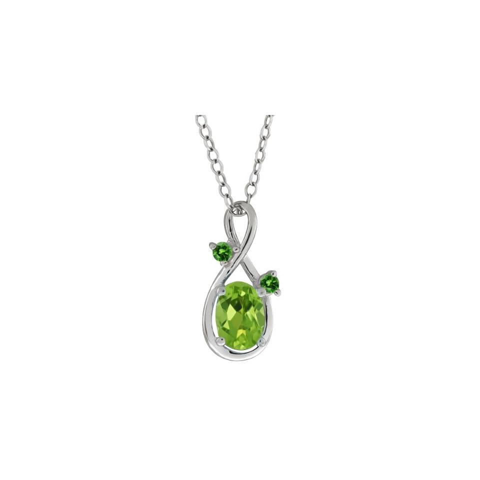 0.86 Ct Oval Green Peridot and Green Diamond 10k White Gold Pendant