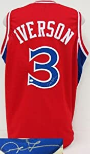 Allen Iverson Signed Jersey - Red Vintage Rookie SI - Autographed NBA Jerseys by Sports Memorabilia