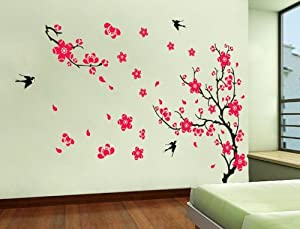 OneHouse Plum Blossom Red Flowers Tree Branch Swallows Art Wall Mural Home Decor Wall Sticker from OneHouse