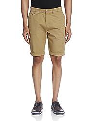 People Men's Cotton Shorts (8903880574772_PMWSH39CR115621_28_Khaki)