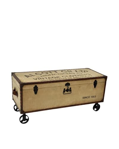 Alcott Steamer Trunk Storage Table, Tan/Brown/Black As You See