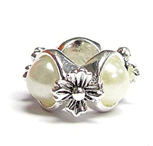 .925 Sterling Silver White Pearl Flower Bead F/ Pandora European Charm Bracelets Birthstone June