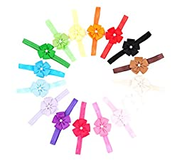 Ema Jane - Grosgrain Ribbon Rosettes Bows Glued to Soft Stretchy Headbands (15 Pack)